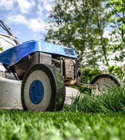 lawnmower maintaining garden