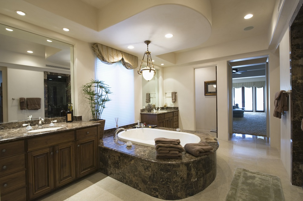 luxurious bathroom with classy bathtub